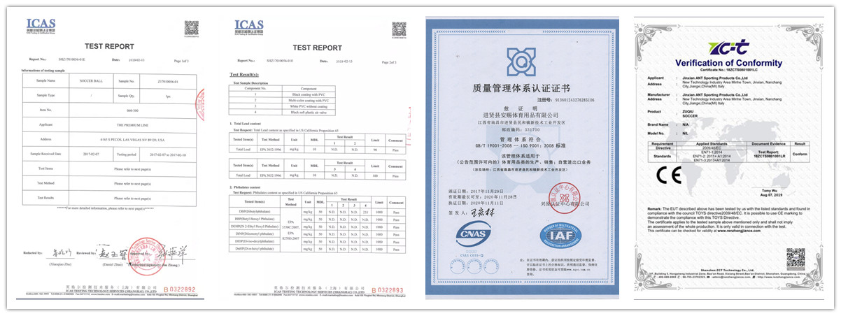 Jinxian ANT Sporting Products Co., Ltd. Certificate
